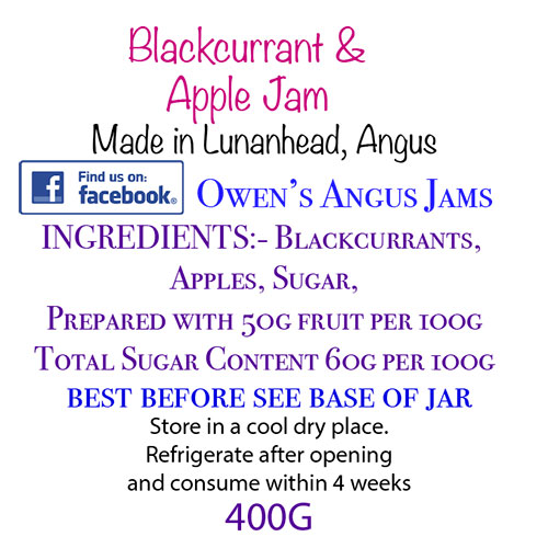 Owen's Angus Blackcurrant and Apple Jam Label