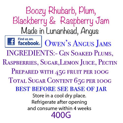 Owen's Angus Boozy Rhubarb, Plum, Blackberry and Raspberry Jam Label