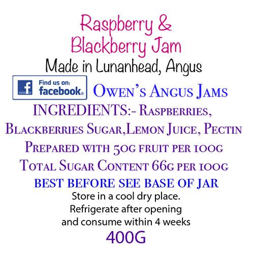 Owen's Angus Raspberry and Blackberry Jam Label