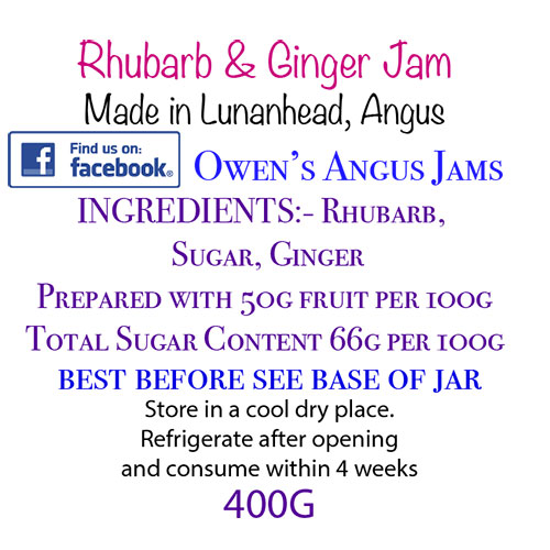 Owen's Angus Rhubarb and Ginger Jam Label