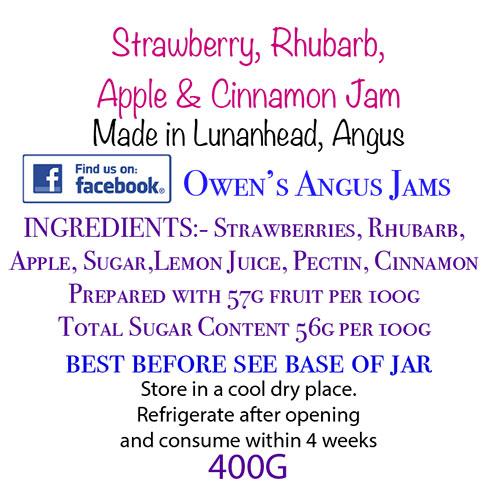 Owen's Angus Strawberry, Apple & Cinnamon Jam Label